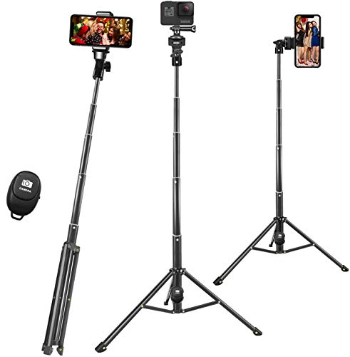 Selife Stick, 54 Inch Phone Tripod for iPhone Camera, Extendable Cell Phone Tripod with Bluetooth Remote & GoPro Mount…