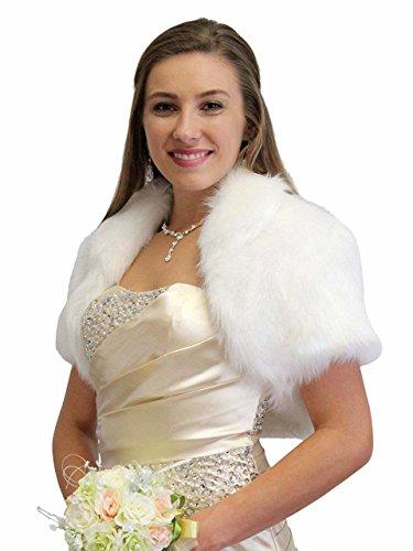 - Tion Design  Bridal Shrug, White Faux Fur Bolero Jacket, Wedding Fur Jacket