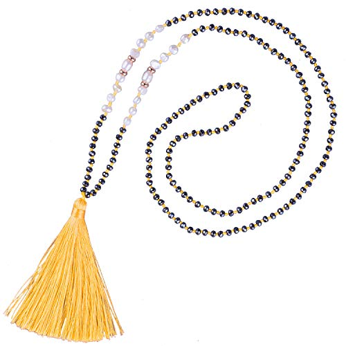 KELITCH Shell Pearls Hematite Beaded Necklace Handmade Tassels Pendants Pearl Strands Necklace Chokers Jewelry for Women (Yellow H)