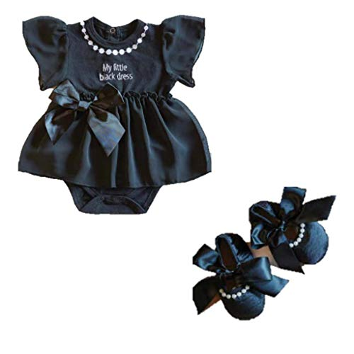 ElevenPlus2 Little Black Party Dress and Matching Ribbon Tie Shoes Infant 6-12 Months -