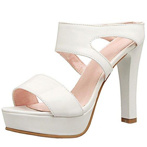 TAOFFEN Femmes Talons Hauts Mules Sandales Mode Bloc Plateforme A Enfiler Ete Chaussures Blanc oc0KC2nbe1