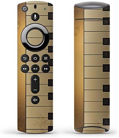 igsticker Fire TV Stick 第2世代 専用 リモコン用 全面 スキンシール フル 背面 側面 正面 ステッカー ケース 保護シール 002549 クール ピアノ 音楽 ゴールド