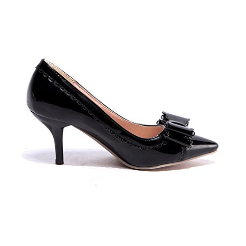 Black Closed Pumps Stilettos Leather Patent Spikes Shoes AllhqFashion Solid Toe Pointed Womens wqPS0ax1