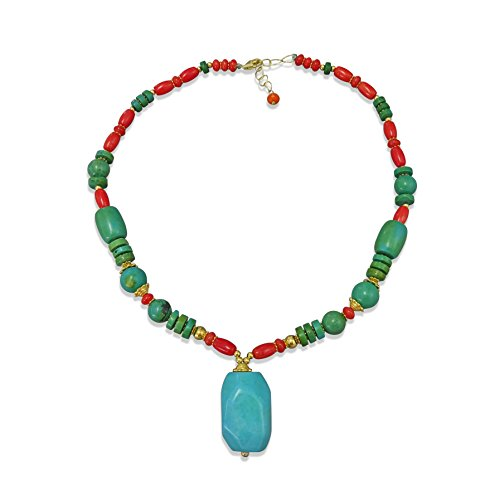 MGR MY GEMS ROCK! Southwest Style Magnesite Turquoise and Sea Bamboo Coral Pendant Necklace, 17