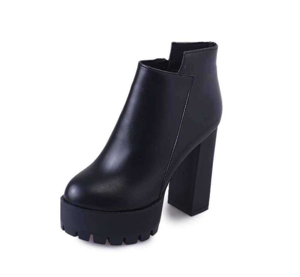 11.5Cm Chunkly Heel Pump Ankle Bootie Knight Stiefel Frauen Round Toe 4.5Cm Plattform Martin Boot OL Court Schuhe Eu Größe 34-39