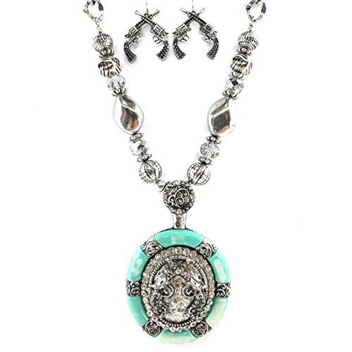 Western Peak Western Shotgun Bullet Shell Buck Antler Charms Pendant Necklace with Earrings Copper Silver (Dual ()