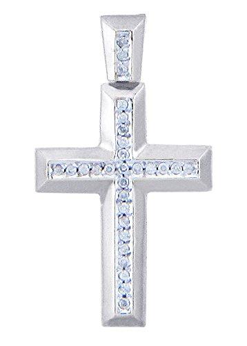 10 ct 471/1000 Or Blanc Croix Diamants Pendentif