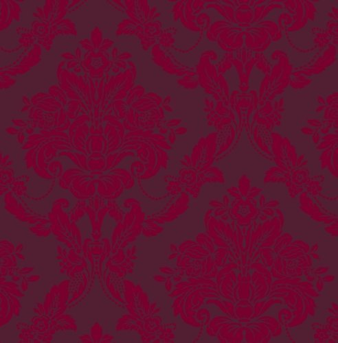 Sophie Conran Wallpaper Luxury Genuine Velvet Flock Wallpaper Palais Scarlet 980607 Full Roll by Sophie Conran
