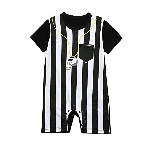 Toddler Baby Boys Striped Whistle Football Soccer Referee Romper (12M, Black) -