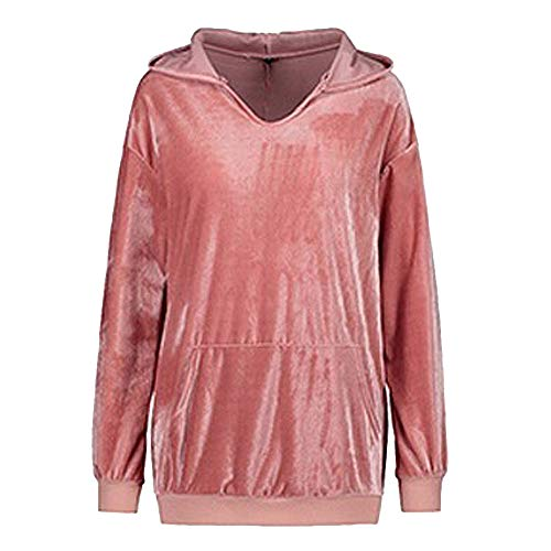 Tunique Chemise Chic Sweatshirt Solide Jumper Velours Automne Hiver Tops Manches Longues Femme Chandail LEvifun Rose Sexy Hoodies Femme et Chaud Pulls Blouse Sweater fpaUnwCxq4