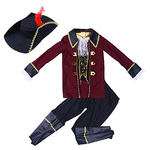 BESTOYARD Classic Pirate Dress-up Costume Halloween Party Masquerade Stage Performance Cosplay Outfit for Kids Size L