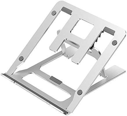 滑り止めシリコンパッド、5-ファイルの調整角度、ホームオフィスに最適とのベッドのためのラップトップスタンド、折り畳み式のアルミ製ノートPCホルダー、,White silver