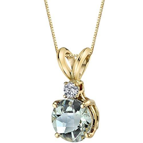Green Amethyst Diamond Pendant (14 Karat Yellow Gold Round Cut 1.00 Carats Green Amethyst Diamond Pendant)