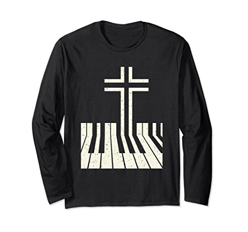Unisex Christian Music Gift Long Sleeve Shirt Band Keyboard Cross 2XL Black -