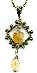 Citrine Gemstone and Antiqued Bronze Pendant Necklace 18 Inches Handmade One-of-a-kind Trinket Pendant 003