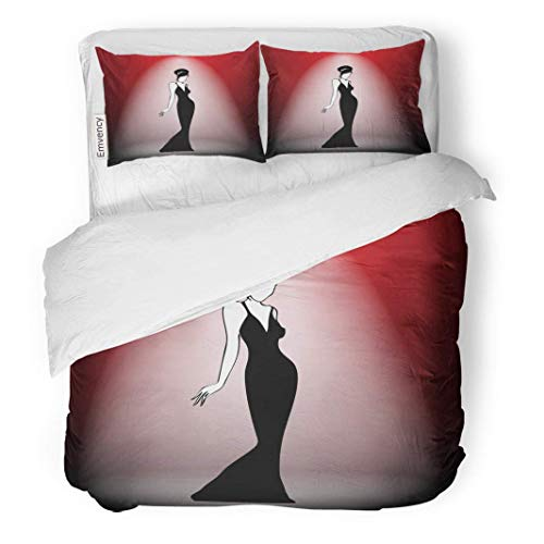 MIGAGA Decor Duvet Cover Set King Size 1930S Abstract Retro Girl on Scene in Portfolio 20S 3 Piece Brushed Microfiber Fabric Print Bedding Set Cover ()