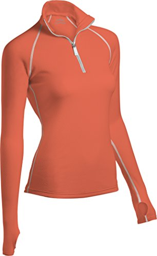 ColdPruf Women's Honeycomb Base Layer 1/4 Zip Mock Neck Top, Melon, Small (First Womens Top Layer)