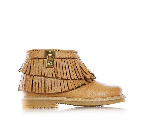 FLORENS - Bottine marron en cuir, avec fermeture éclair latérale, pendentif en métal doré latéral, franges décoratives au long de la chaussure, Fille, Filles