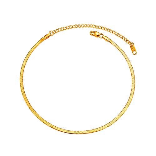 PROSTEEL Gold Snake Chain Women Choker Necklaces 18K Plated Men Girl Jewelry Layering Layered Gold Herringbone Necklace for Women