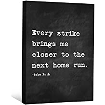 "JP London CNVNSP02 2"" Thick Heavyweight Gallery Wrap Canvas Motivational Inspiration Sayings Art from Babe Ruth, 24"" x 18"", Black/White"