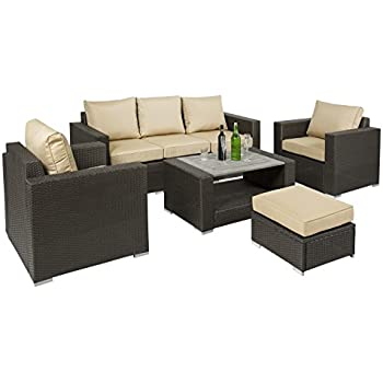 best choice products 7pc outdoor patio sectional pe wicker furniture sofa set taupe
