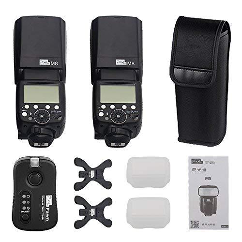 PIXEL M8 nikon用 スピードライド/ストロボ/フラッシュ3点セット無線遠隔 1-500Hz M/MULラッシュモード 3秒リサイクル 2*スピードライド+1*TF-361送信機 フラッシュトリガー ラジオスレーブ ニコン NiKon D800 D800S D810 D700 D500 D300 D200 D1シリーズ D2シリーズ D3 D3S D4 D5 D90 D600 D610 D750 D3100 D3200 D3300 D5000 D5100 D5200 D5300 D5500 D7000 D7100 D7200などに対応 M8 nikon  B077YJ49G3