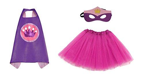 [Rush Dance Kids Children's Deluxe Comics Super Hero CAPE & MASK & TUTU Costume (Purple Princess (Hot Pink] (Comic Cosplay Costumes)