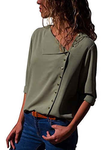 Silindashop Womens Blouses 3/4 Sleeve Button Down Elegant Chiffon Tops Loose Fitting Tee Shirts M by Silindashop