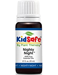 Plant Therapy KidSafe Nighty Night Synergy Essential Oil Blend. Blend of: Lavender, Marjoram, Mandarin, Cedarwood Atlas, Patchouli, Clary Sage, Chamomile Roman and Blue Tansy. 10 ml (1/3 oz).