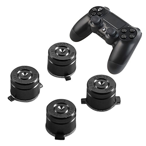 PS4 Bullet Buttons Aluminum Custom Metal Playstation 4 DualShock 4 Replacement Standard Buttons Spare Parts Accessories for Modded PS4 Controllers Bullet Black