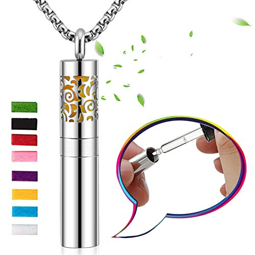 Aromatherapy Necklace with Diffuser and Container 2-in-1 Stainless Steel Perfume Bottle Essential Oil Locket Pendant Jewelry Gift Set with 8 Colors Felt Pads for Boys Girls, Metal Chain