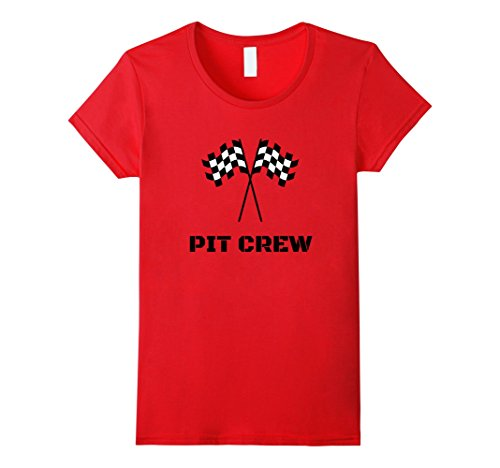Race Themed Costumes (Womens Pit Crew T-Shirt Hosting Race Car Parties Flag Kids Parents Medium Red)