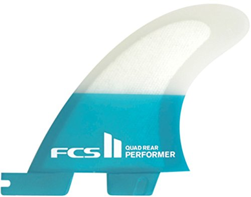 FCS Performer PC Quad Rear Fin Set - Teal - Select Size (Large)