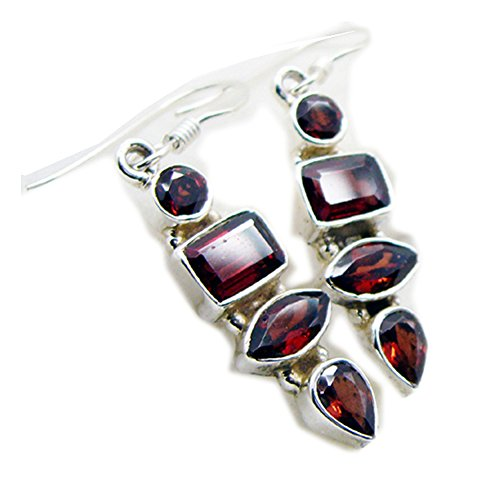 Faceted Garnet Earrings (Natural Garnet Earring For Women Sterling Fashion Fish Hook Rectangle Shape Jewelry HandmadeBirthstone)