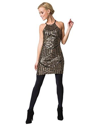 LE CHÂTEAU Women's Sequin Halter Tunic,S,Black/Gold