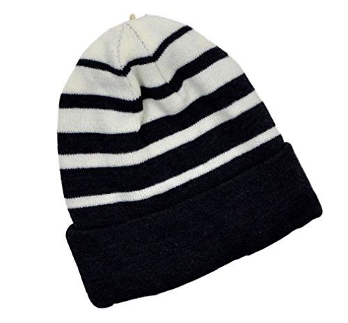 Price comparison product image Urban Pipeline Black&White Striped Beanie Hat - One Size