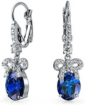 Bling Jewelry Bow Simulated Sapphire CZ Leverback Earrings Rhodium Plated