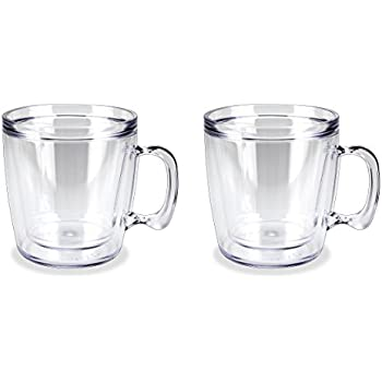 Set of 2 Signature Tumbler Plastic Glass Unbreakable Double-wall Insulated Coffee Mugs 12 Ounce Clear