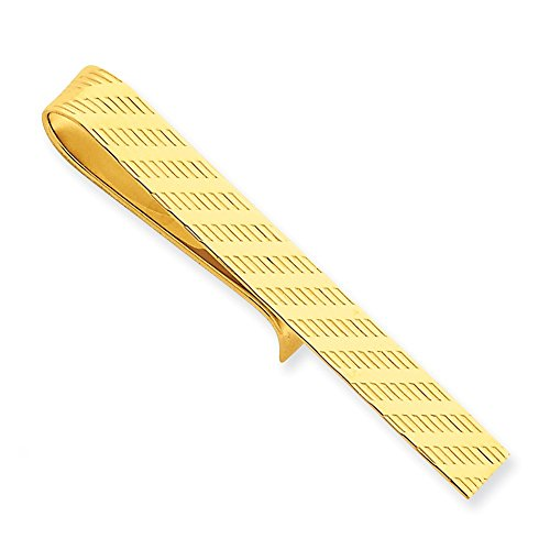 14k Yellow Gold Tie Bar with Diagonal Stripe Design by CoutureJewelers