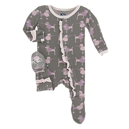 KicKee Pants Baby Girls Classic Layette Ruffle Footie, Cobblestone Poodle, 0-3M