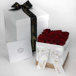 Forever Monroe's 16 Red Preserved Box of Roses that last a year, Rose Box for Personalized Valentines Gift for her 44