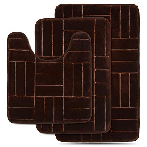 - Effiliv 3 Piece Bathroom Rugs Set - Memory Foam Bath Mats, Brown/Line