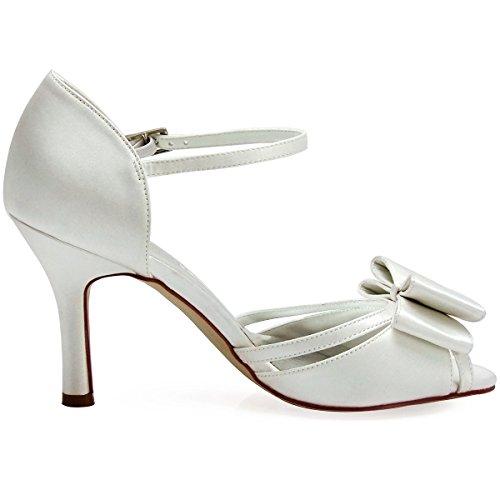 ElegantPark HP1507 Sandalias Punta abierta Arcos Zapatos de tacón raso zapatos de novia mujer talla marfil