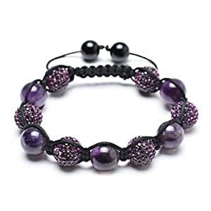 Bling Jewelry Bracelet Shamballa Inspired Purple Crystal Bead Simulated Amethyst Stones