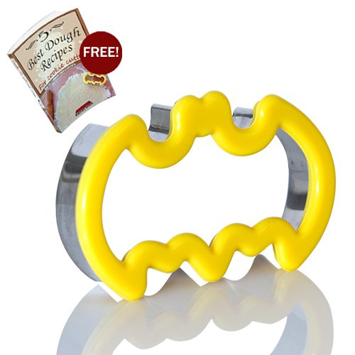 Batman Cookie Cutter, Batman Small Sandwich Cutter, Stainless Steel Metal With Silicone Rubber Comfort Grip For Kids and Adults By Kitchen Stars, with 5 Recipes For Cookie Cut-Outs (Halloween Cut Out Sugar Cookie Recipe)