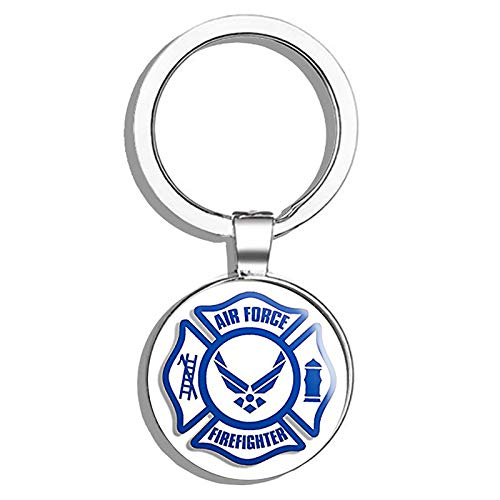 HJ Media Maltese Shaped AIR Force Firefighter (Service fire USAF) Metal Round Metal Key Chain Keychain Ring