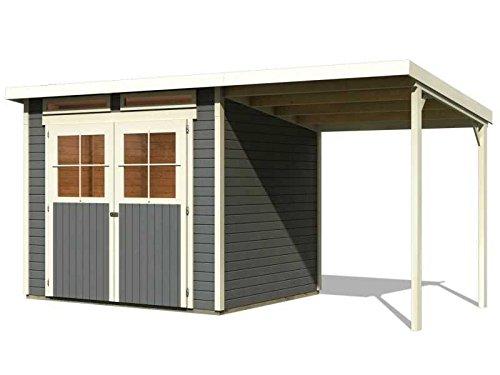 Karibu Gartenhaus Verona 4 inkl. Schleppdach terragrau SPARSET mit Fußboden selbstklebender Dachbahn