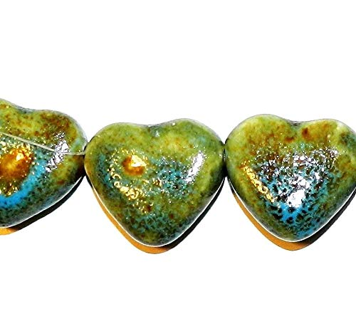 Honey Brown Dark Aqua Blue 28mm Top-Drilled Heart Porcelain Beads 8#ID-4633 (Heart Puffed Beads)
