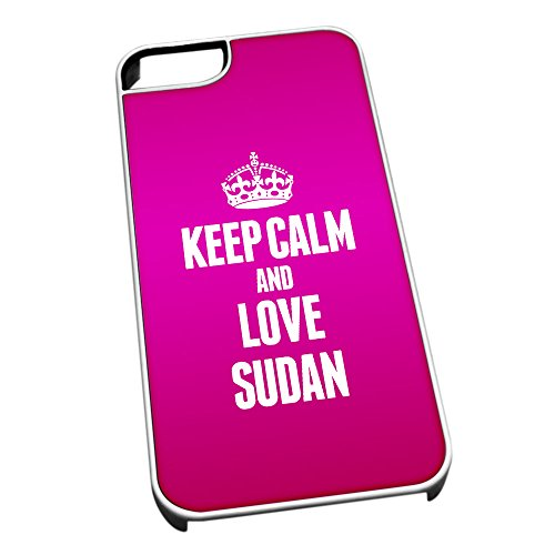 Bianco cover per iPhone 5/5S 2285Pink Keep Calm and Love Sudan