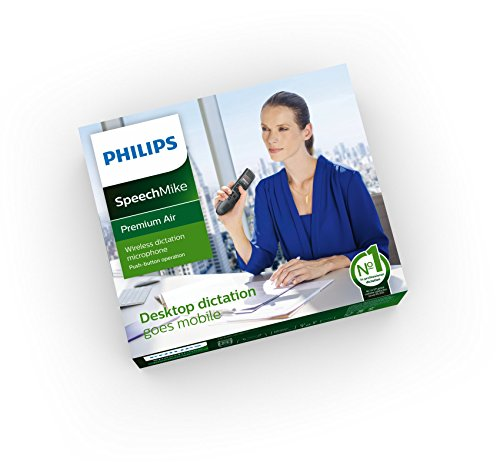Philips SMP4000 SpeechMike Air Wireless Dictation Microphone with Push Button Design